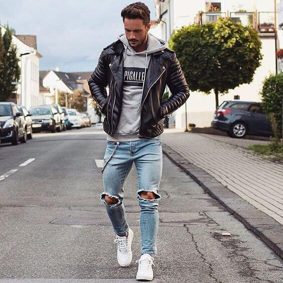 blue jeans With Leather Jacket for men