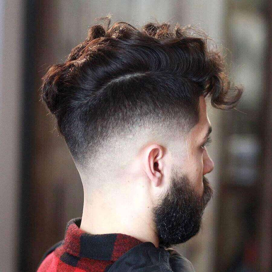 Clean Drop Fade + Curly Messy Hair Style