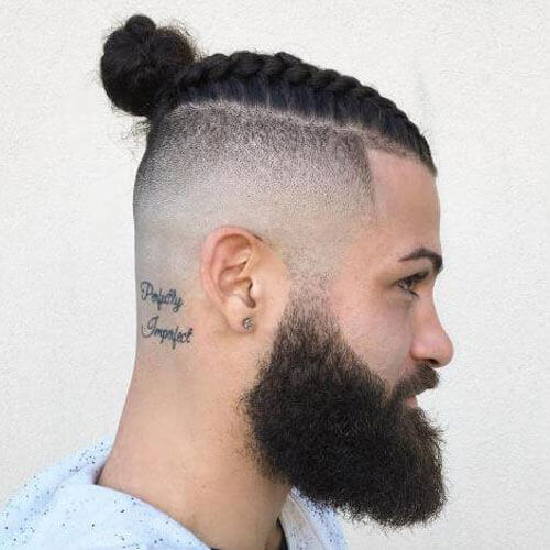 Braided Man Bun with Beard