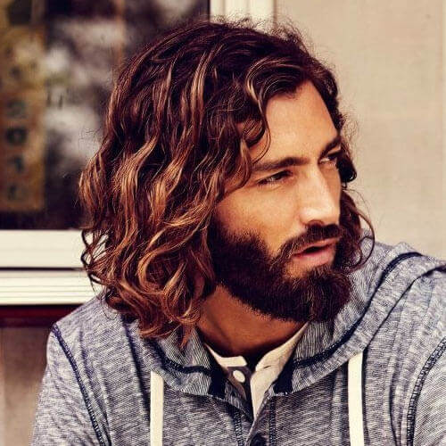Curly Long Hair Styles with Beard